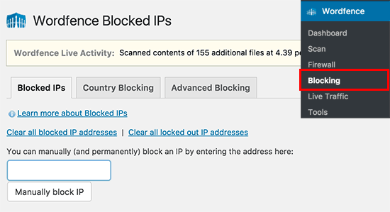 Bloquear ips en wordfence