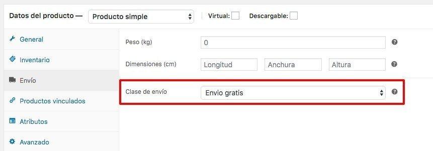 Configurar envío gratis a determinados productos en WooCommerce 3